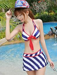 Женская Плюс Размер Навигационные Stripes Лук Узел Push Up бикини Установить купальник купальный костюм