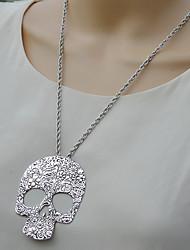 moda siyun ponta oca em forma de crânio longo colar