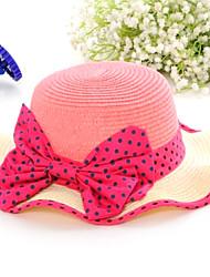 Сладкий Bowknot Тень Соломенная шляпка Color Matching предотвращается Bask в большой шляпе из девушек случайный цвет
