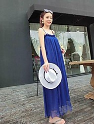 Women's Beach Loose Dress,Solid Strap Maxi Sleeveless Blue / Purple Summer