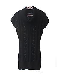 Женская Шерсть Вырежьте сплошной цвет Тонкий пуловер