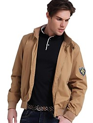 Men's Long Sleeve Jacket , Cotton Casual/Work/Formal Pure