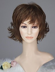 Women Capless Vogue Short Curly Brown Highlight Synthetic Wig with Bang