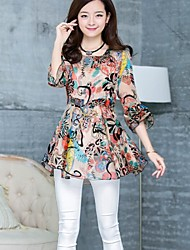 Women's Print Pink/Black Blouse , Square Neck ½ Length Sleeve