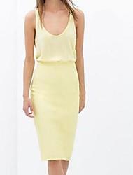 Mujer Amarillo Vestido de tirantes U Mostrar Thin glúteos cuero Spell Vestidos sin mangas de cuello