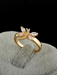 Women's New Fashion 18K Gold Plated Lnlay Dragonfly Ring J0491