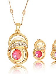 WesternRain Women's Gold-plated  Rhinestone Jewelry Set