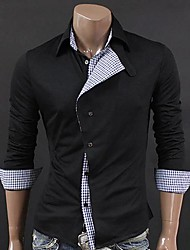 Men's Splicing Color Oblique Placket Shirt A
