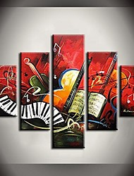 Hand Painted Oil Painting Elegant Music Notes Abstract Paintings with Stretched Frame Set of 5