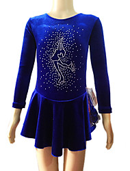 Robe de Patinage Femme Manches longues Patinage Jupes & Robes Robes Robe de patinage artistique Respirable Velours Bleu Tenue de Patinage