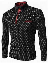 Lesen Men's Stand Collar Fashion Polka Dots Business Casual Long Sleeve Shirt O