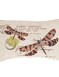 "Createforlife® 12""x 20"" Rectangle Dragonfly Carte Postale Cotton/Linen Decorative Pillow"