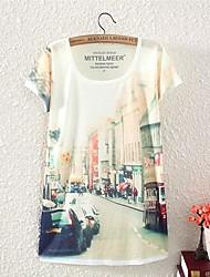 Padrões da rua de Londres das mulheres T-shirt de manga curta Lazer solto