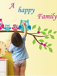 Createforlife® Cartoon Owls Happy Family Kids Nursery Room Wall Sticker Wall Art Decals