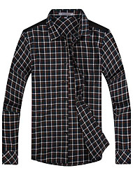 Archimedes® Men's Lapel Casual Long Sleeve Slim-cut  Plaid Shirt