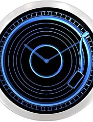 Vintage Record Player Turntable Decor Neon Sign LED Wall Clock