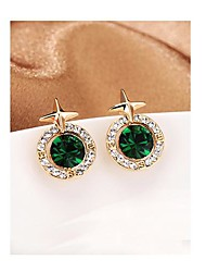 Wowen's Emerald Earrings With Gold Plated Diamond in Crucifix Star in Jewelry