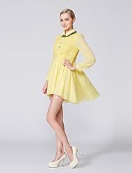 OSA Women's Long-Sleeve  Shirt Collar Asymmetrical Lace Evening Dress