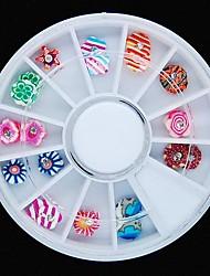 24pcs 12designs красочный полимер фимо глины цветок колесо украшение искусства ногтя