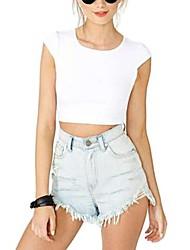 Women's Solid White/Black T-shirt , Crew Neck Short Sleeve
