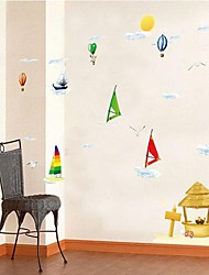 Doudouwo® Cartoon Beach Sailing And Hot Air Balloon Wall Stickers