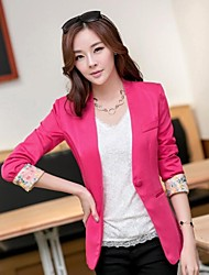 Women's Blue/Red/Black/Green/Yellow Blazer , Bodycon/Work Long Sleeve