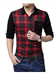 Men's Lapel Casual Long Sleeve Splicing Check Shirts