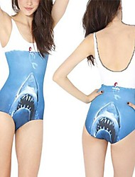Whale Print  One Piece Spandex Swim Suit
