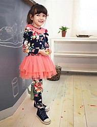 Girl's Blue / Pink Leggings,Floral Cotton All Seasons