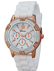 mulheres mostrador redondo relógio pulseira de silicone strass quartzo vestido pulso (cores sortidas)