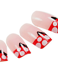 24PCS Black Bowknot Design Pink Nail Art Tips With Glue