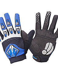 LAMBDA Blue and Black Lycra Anti-skid 3D Full Finger Cycling Gloves