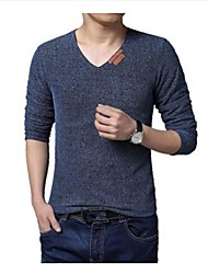 Men's V Neck Simple Casual Long Sleeve Mesh T-shirts