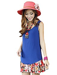 Women's Chiffon Sleeveless Round Neck Strap Blouse