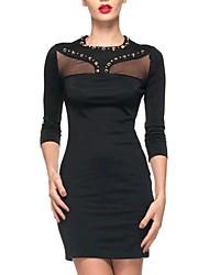 trimestre moda feminina mangas asas moldar rebites colarinho mini vestido