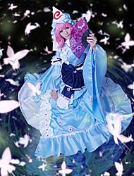 Вдохновлен Проект Тоухоу Yuyuko Saigyouji видео Игра Косплей костюмы Косплей Костюмы Пэчворк Синий Платье / Шапки