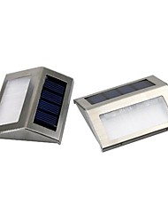 Set of 2 White 2-LED Solar Powered LED Light Pathway Path Step Stair Wall Mounted Garden Lamp