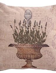"Createforlife ® 18 ""x 18"" Quadrat-Lavendel-Blumen-Baumwolle / Leinen Dekorative Kissen"