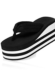 Women's Spring Summer Flip Flops Slide Casual Wedge Heel Slip-on Black Red
