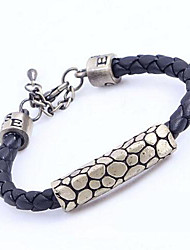 Men's Fashion Vintage Bracelet Leopard Serpentine Braided Leather Bracelet