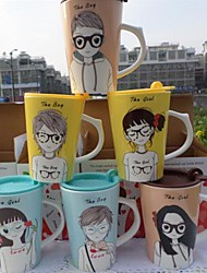Japanese Animation Ceramic Cup with Cover Random Color,10x8.5x12cm
