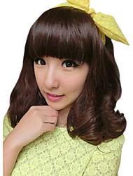 Girl Curly Synthetic Full Bang Wigs