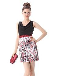 Alguna vez-de las mujeres bonitas Blacks Cowl Escote Impreso satén del imperio vestido de línea