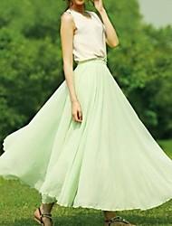 Verano de las mujeres de la cintura elástico banda larga de la gasa de la falda maxi