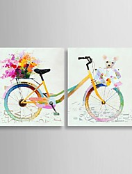 Oil Painting Still Life Colorful Bike with Stretched Frame Set of 2 Hand-Painted Canvas