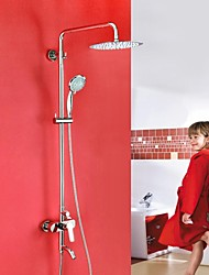 HPB ™ Lengte :43.7-60 inch hedendaagse chroom messing douche kraan met Air Injection Technology douchekop