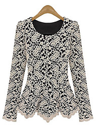 Cuello redondo de encaje de manga larga blusa de S & R Mujeres