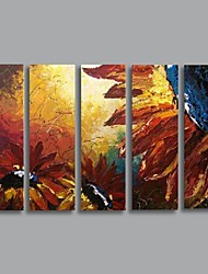 Hand Painted Modern Knife Flower oil painting with Stretched Frame Set of 5