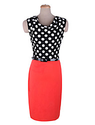 Polka Dots Splicing Knitwear Dress With Belt