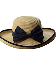 Women's Black Bowknot Ribbon Roll-up Trim Straw Beach Hat